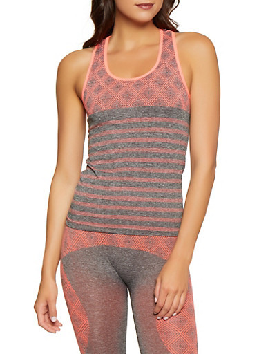 Printed Active Racerback Tank Top,CORAL,large