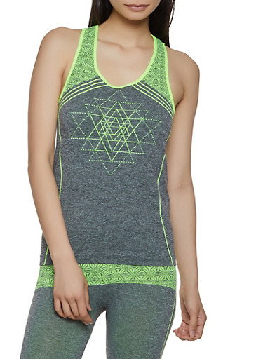 Two Tone Printed Active Tank Top,LIME,large