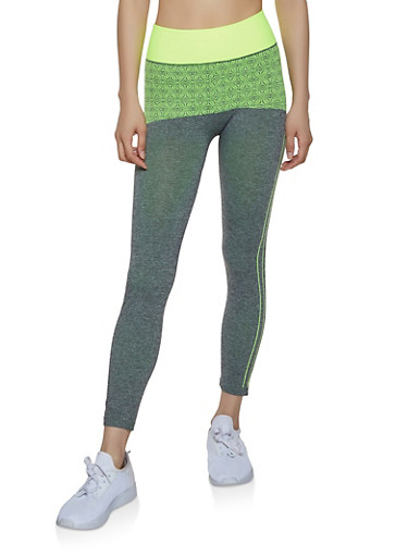 Two Tone Printed Active Leggings,LIME,large