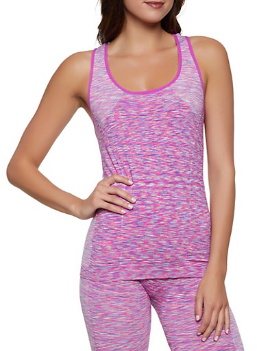 Multi Color Marled Active Tank Top,PINK,large