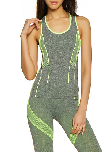 Contrast Detail Active Tank Top,LIME,large