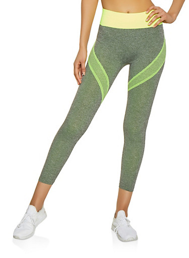 Contrast Band Active Leggings,LIME,large