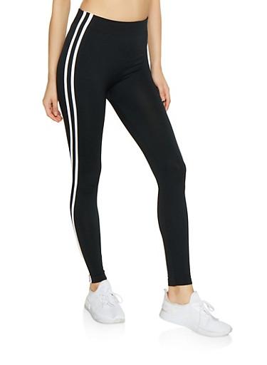 Varsity Stripe Fleece Lined Leggings,BLACK,large