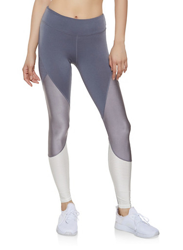 Color Blocked Activewear Leggings,CHARCOAL,large