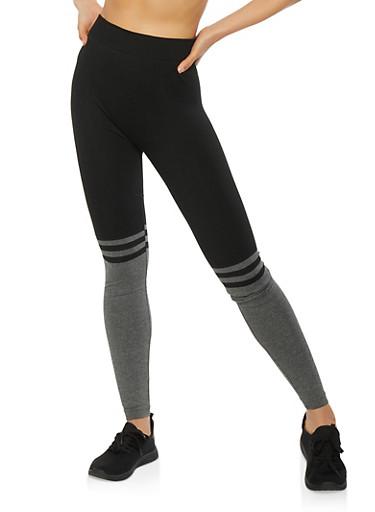 Stripe Detail Color Block Leggings,BLACK,large