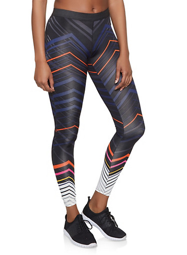 Chevron Activewear Leggings,BLACK,large