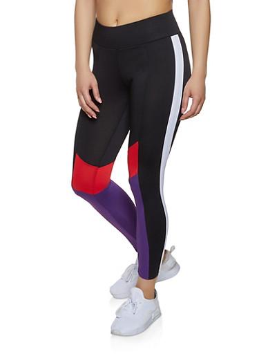 Color Block Detail Active Leggings,BLACK,large
