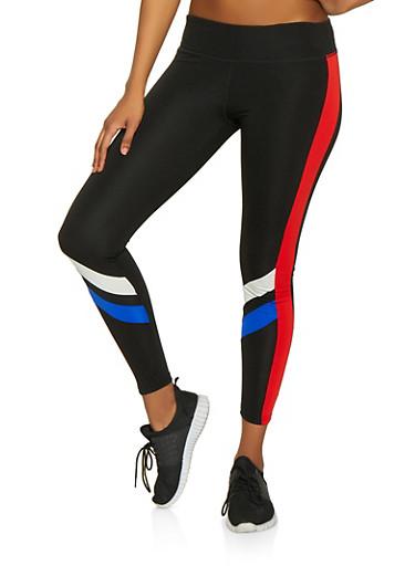 Contrast Stripe Detail Active Leggings,BLACK,large