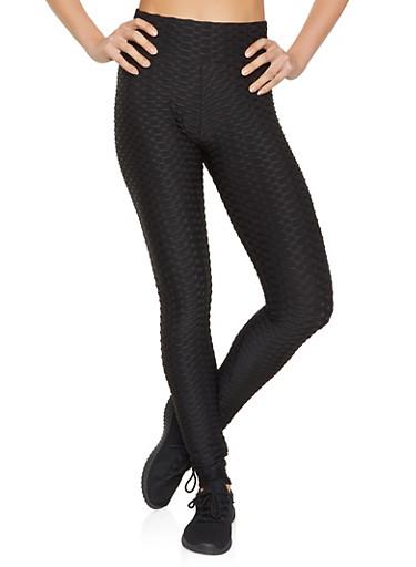 Solid Textured Knit Leggings,BLACK,large