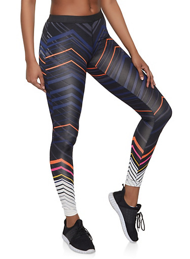 Multi Stripe Active Leggings,BLACK,large
