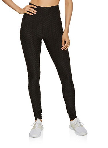 Honeycomb Knit Leggings,BLACK,large