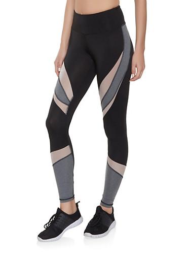 Color Block Activewear Leggings,BLACK,large