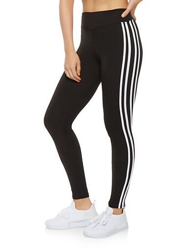 Side Stripe Soft Knit Leggings,BLACK/WHITE,large