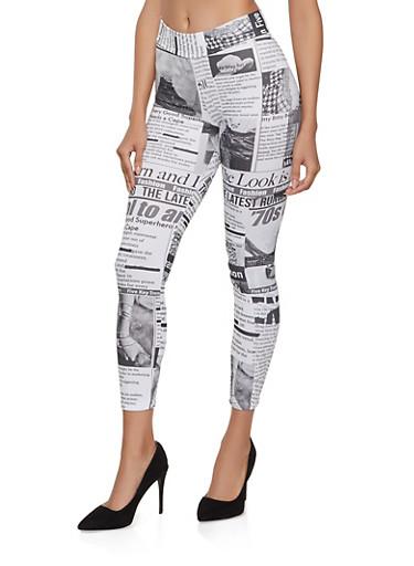 Soft Knit Newspaper Print Leggings,WHITE,large