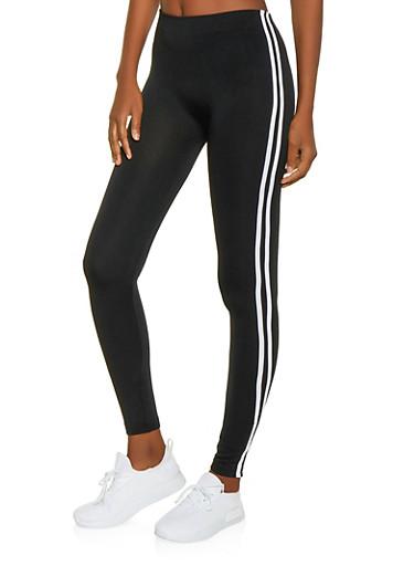 Fleece Lined Varsity Stripe Leggings,BLACK,large