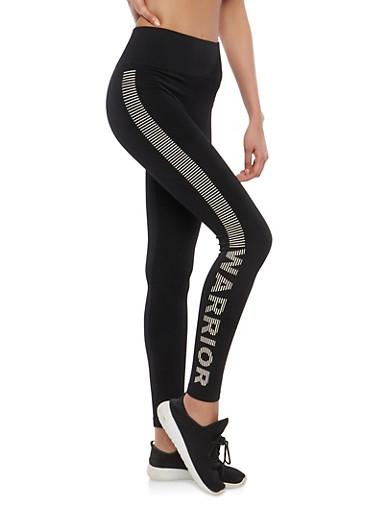 Striped Warrior Graphic Activewear Leggings,BLACK,large