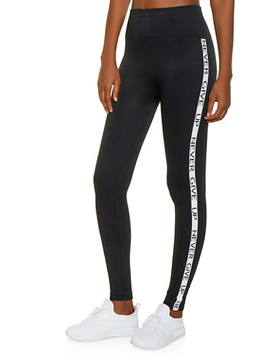 Never Give Up Graphic Tape Leggings,BLACK,large