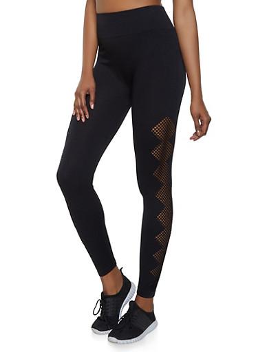 Laser Cut Leggings | 1059061633420,BLACK,large