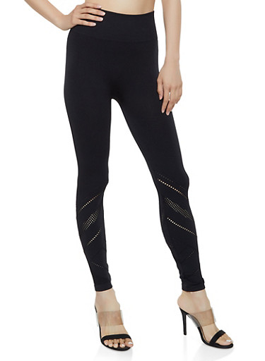 Mesh Insert Leggings | 1059061633440,BLACK,large