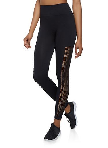 Laser Cut Leggings   1059061633460,BLACK,large