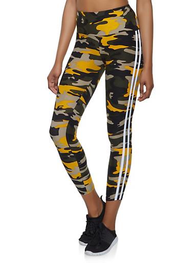 Varsity Stripe Camo Leggings | 1059061635601,MUSTARD,large