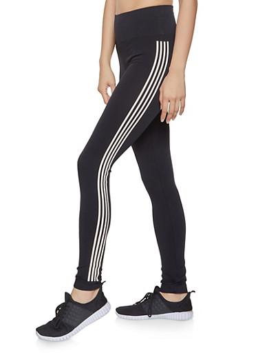 Striped Detail Leggings,BLACK,large