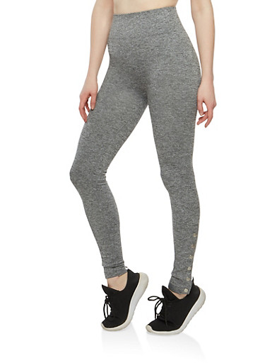 Snap Button Detail Leggings,HEATHER,large