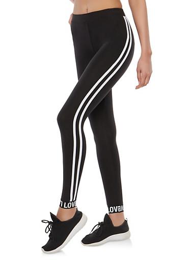 Athletic Stripe Love Graphic Leggings,BLACK,large