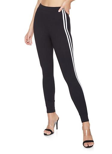Varsity Stripe Leggings,BLACK,large