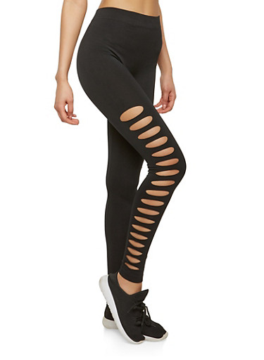 Laser Cut Leggings,BLACK,large