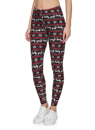 Snowflake Reindeer Soft Knit Leggings,BLACK,large