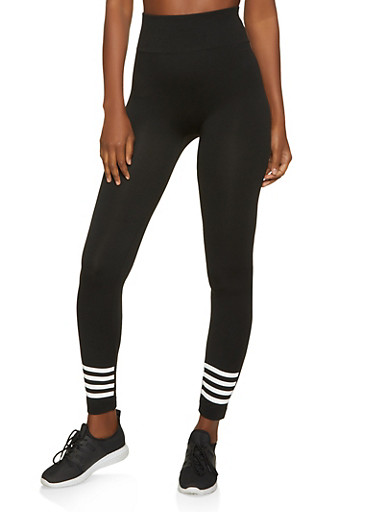 Striped Detail Seamless Leggings,BLACK,large