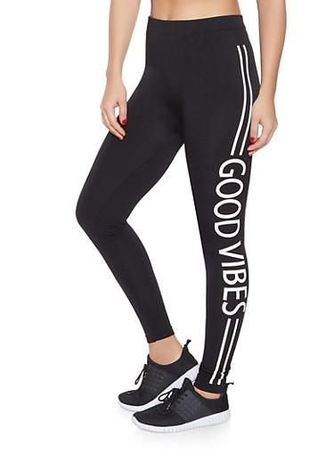 Good Vibes Graphic Leggings,BLACK,large