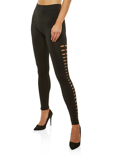 Cut Out Side Leggings,BLACK,large