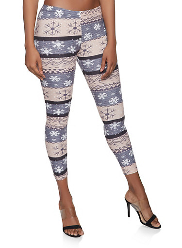 Snowflake Print Soft Knit Leggings,GRAY,large
