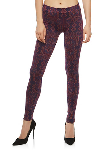 Printed Terry Lined Leggings,RED MULTI,large