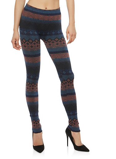 Terry Lined Aztec Print Leggings,GRAY/MAUVE,large