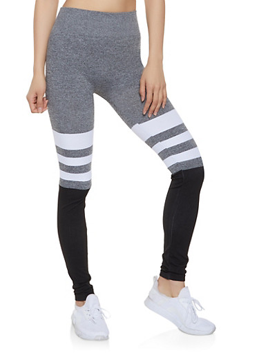 Color Block Striped Detail Leggings,HEATHER,large