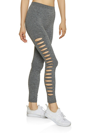 Laser Cut Side Marled Leggings,GRAY,large