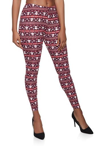 Snowman Print Soft Knit Leggings,RED,large