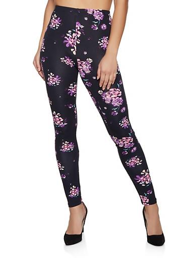Floral Fleece Lined Leggings,MAUVE,large