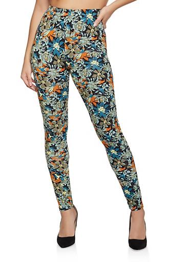 Floral Printed Soft Knit Leggings,OLIVE,large