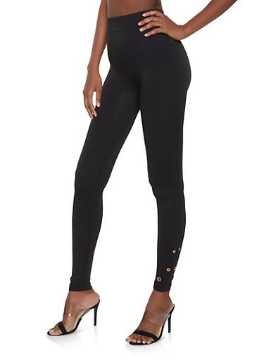 Grommet Detail Leggings,BLACK,large