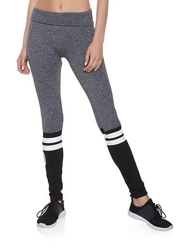 Varsity Stripe Color Block Leggings,HEATHER,large