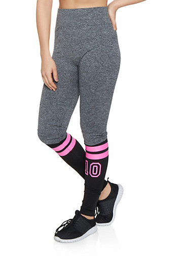 Marled Color Block Graphic Leggings,NEON PINK,large