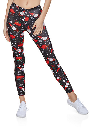 Santa Leggings,BLACK,large