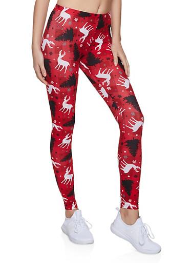 Reindeer Plaid Leggings,RED,large