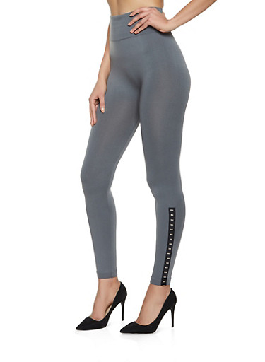 Studded Detail Seamless Leggings,CHARCOAL,large