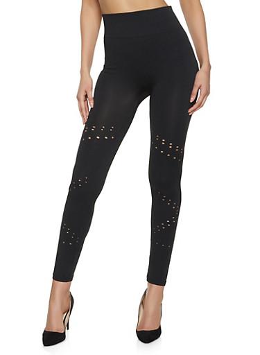 Perforated Seamless Leggings,BLACK,large