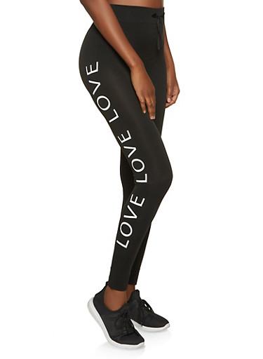 Seamless Love Leggings,BLACK,large